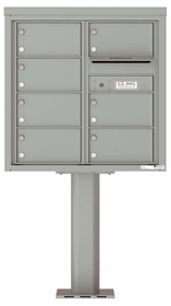 Versatile Front Loading Pedestal Mailbox with 7 Tenant Doors and Outgoing Mail Slot - Double Column