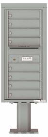 Versatile Front Loading Pedestal Mailbox with 8 Tenant Doors and Outgoing Mail Slot - Single Column