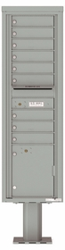 Versatile Front Loading Pedestal Mailbox with 9 Tenant Doors and 1 Parcel Locker - Single Column