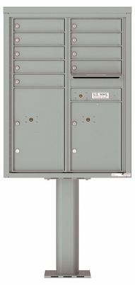 Versatile Front Loading Pedestal Mailbox with 9 Tenant Doors and 2 Parcel Lockers