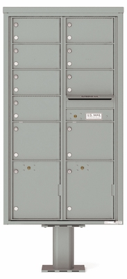 Versatile Front Loading Pedestal Mailbox with 9 Large Tenant Doors and 2 Parcel Lockers
