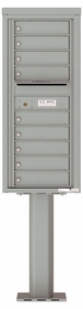 Versatile Front Loading Pedestal Mailbox with 9 Tenant Doors and Outgoing Mail Slot - Single Column