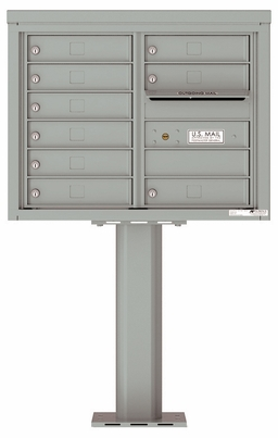 Versatile Front Loading Pedestal Mailbox with 9 Tenant Doors and Outgoing Mail Slot