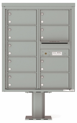 Versatile Front Loading Pedestal Mailbox with 9 Tenant Doors and Outgoing Mail Slot - Double Column