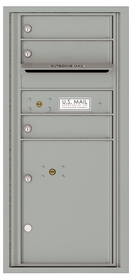 Versatile Front Loading Single Column Commercial Mailbox with 3 Tenant Compartments and 1 Parcel Locker
