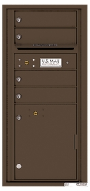 Versatile Rear Loading Single Column Commercial Mailbox with 4 Tenant Compartments and 1 Parcel Locker
