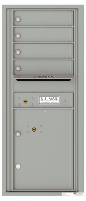 Versatile Front Loading Single Column Commercial Mailbox with 4 Tenant Doors and 1 Parcel Locker