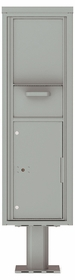 Versatile Front Loading Single Column Pedestal Mailbox Collection Drop Box with Pull Down Hopper - 4C15S-HOP-P