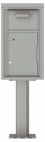 Versatile Front Loading Single Column Pedestal Mailbox Collection Drop Box with Pull Down Hopper - 4C08S-HOP-P