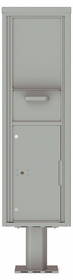 Versatile Front Loading Single Column Pedestal Mailbox Collection Drop Box with Pull Down Hopper - 4C16S-HOP-P