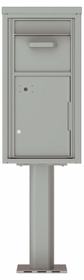 Versatile Front Loading Single Column Pedestal Mailbox Collection Drop Box with Pull Down Hopper - 4C09S-HOP-P