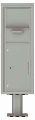 Versatile Front Loading Single Column Pedestal Mailbox Collection Drop Box with Pull Down Hopper - 4C13S-HOP-P