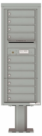 Versatile Front Loading Single Column Pedestal Mailbox with 10 Tenant Doors and Outgoing Mail Slot