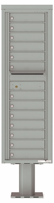 Versatile Front Loading Single Column Pedestal Mailbox with 13 Tenant Doors