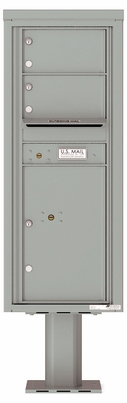 Versatile Front Loading Single Column Pedestal Mailbox with 2 Tenant Doors and 1 Parcel Locker