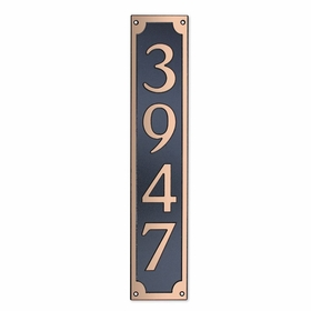 Large Wall Mount Rectangular Vertical Address Plaque Copper Black