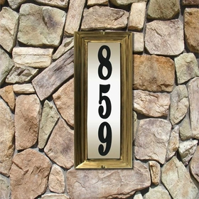 Edgewood Vertical Lighted Address Plaque with Black Polymer Numbers - Antique Brass Frame