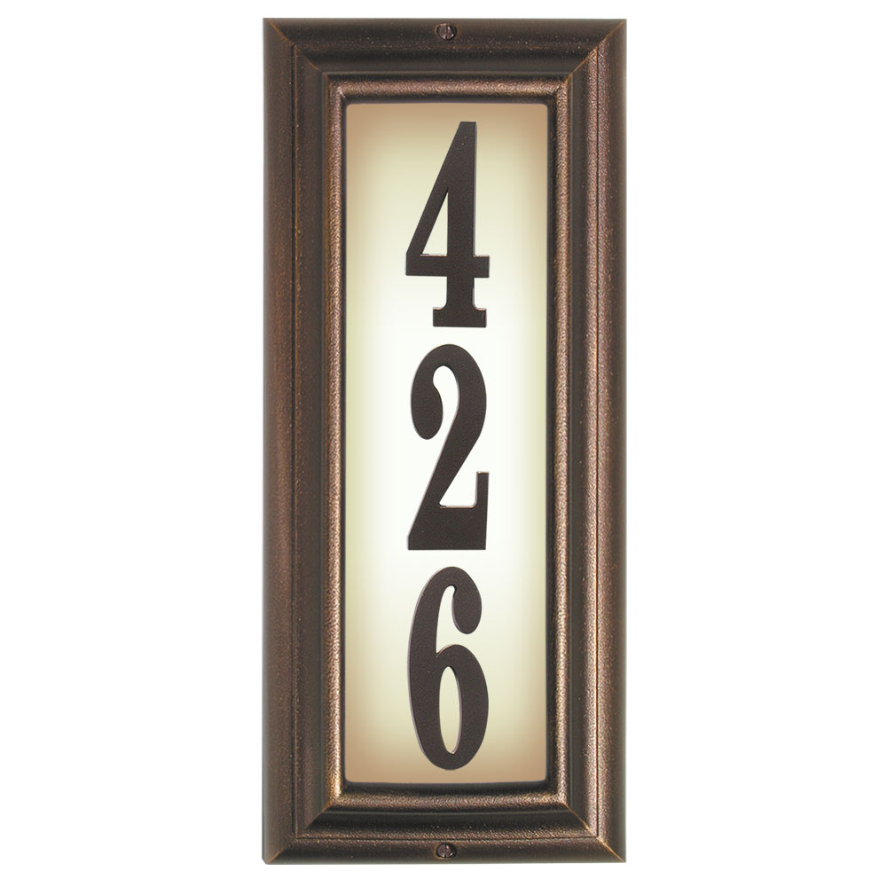 Lighted Address Sign Part - 37: Edgewood Vertical Lighted Address Plaque With Cast Aluminum Numbers -  Antique Copper Frame