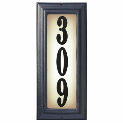 Edgewood Vertical Lighted Address Plaque with Cast Aluminum Numbers - Black Frame