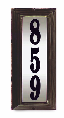 Edgewood Vertical Lighted Address Plaque with Cast Aluminum Numbers - Oil Rubbed Bronze Frame