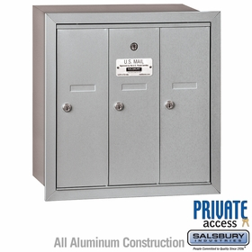 3 Door Vertical Mailboxes - Recessed Mounted - Private Access