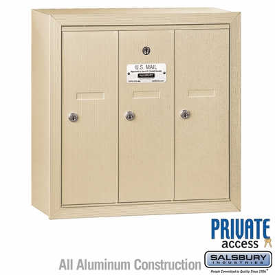 Salsbury 3503SSP Vertical Mailbox - 3 Doors - Sandstone - Surface Mounted - Private Access