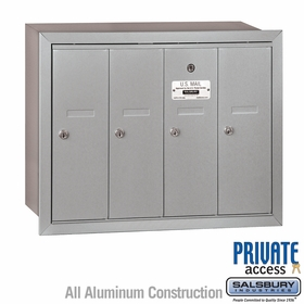 4 Door Vertical Mailboxes - Recessed Mounted - Private Access