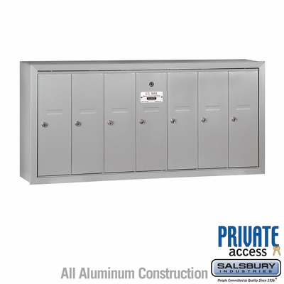 Salsbury 3507ASP Vertical Mailbox - 7 Doors - Aluminum - Surface Mounted - Private Access