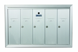 5 Compartment Fully Recessed Vertical Replacement Mailboxes - Anodized Aluminum