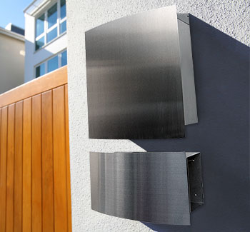 wall mailbox and newspaper holder stainless steel style - Modern Mailboxes