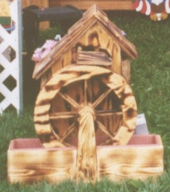 "WATER WHEEL - Old Grain Mill with Pump in Pine (26"" H)"