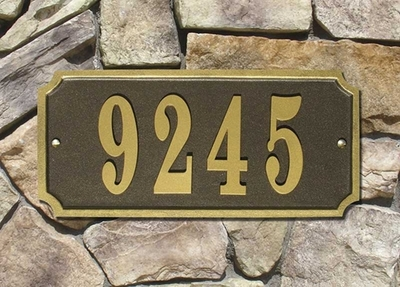 Waterford Quick Ship Cast Aluminum Rectangle Plaque (Up to 5 Numbers)