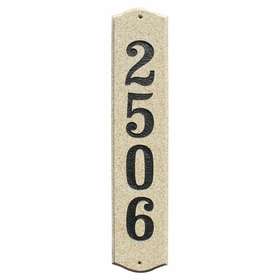 Wexford Vertical Solid Granite Address Plaque With Engraved Text - Sand Granite Polished Stone Color