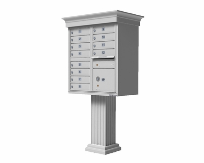 White Cluster Box Unit with Crown Cap and Pillar Pedestal accessories - 12 compartment