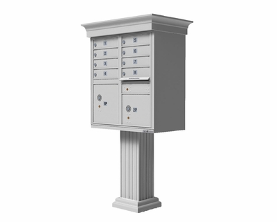 White Cluster Box Unit with Crown Cap and Pillar Pedestal accessories - 8 compartment