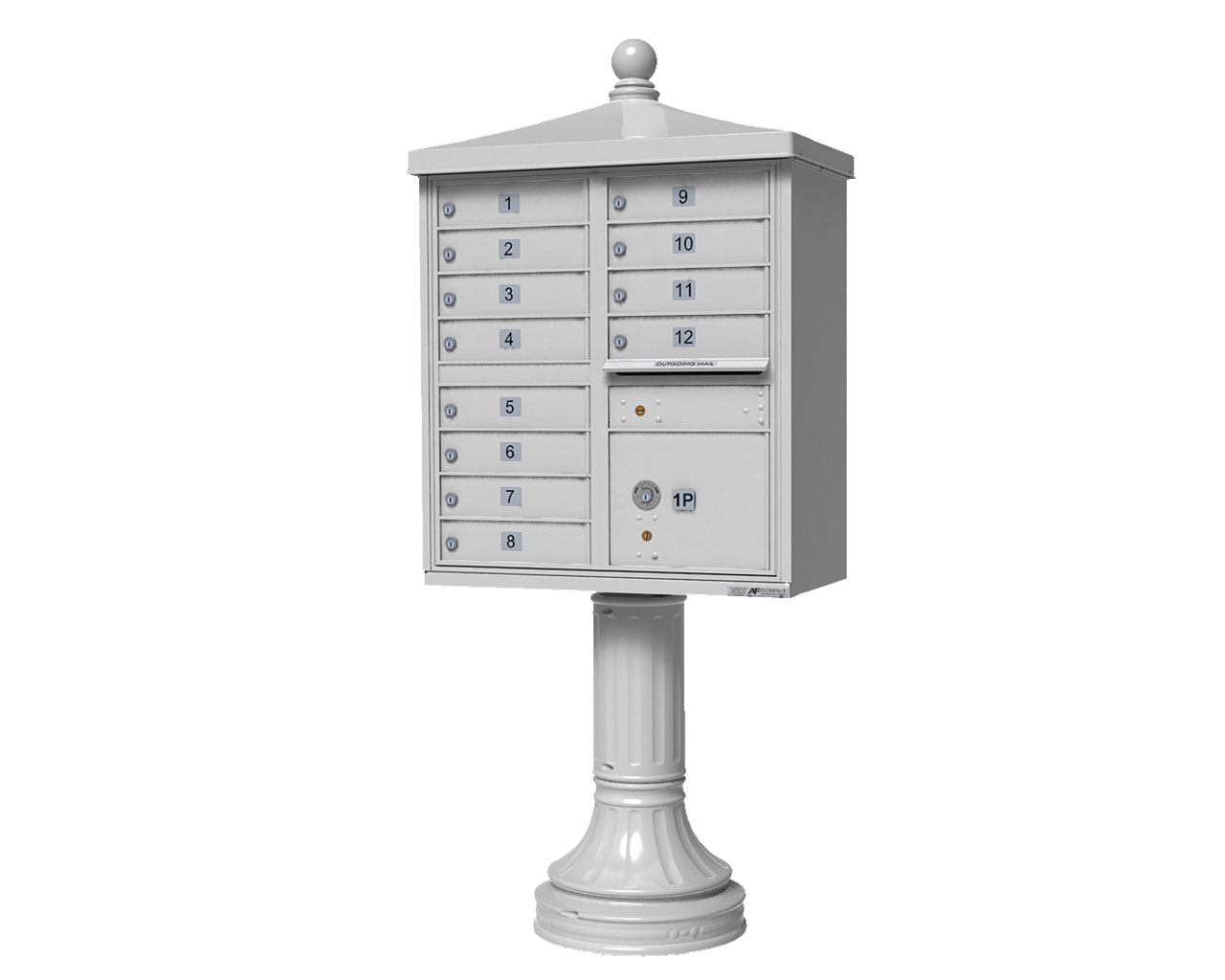 12 Door Cbu Mailbox With Finial White Auth Florence
