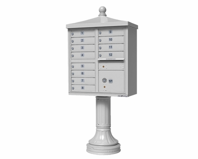 White Cluster Box Unit with Finial Cap and Traditional Pedestal accessories - 12 compartment