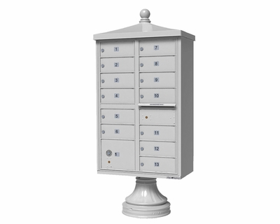 White Cluster Box Unit with Finial Cap and Traditional Pedestal accessories - 13 compartment