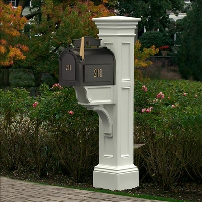 White Liberty Post and Mailbox Package