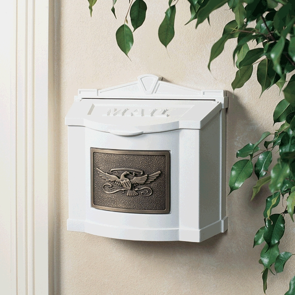 Gaines Mailboxes White Wall Mount Mailbox With Antique