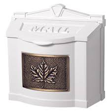 White Wall Mount Mailbox with Antique Bronze Leaf Emblem