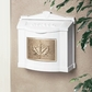 White Wall Mount Mailbox with Polished Brass Leaf Emblem