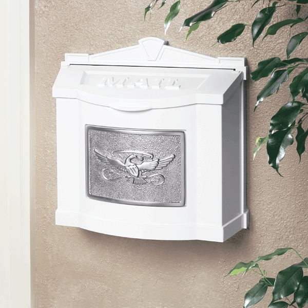 white wall mount mailbox with satin nickel eagle emblem - Wall Mount Mailboxes