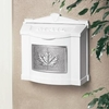 White Wall Mount Mailbox with Satin Nickel Leaf Emblem