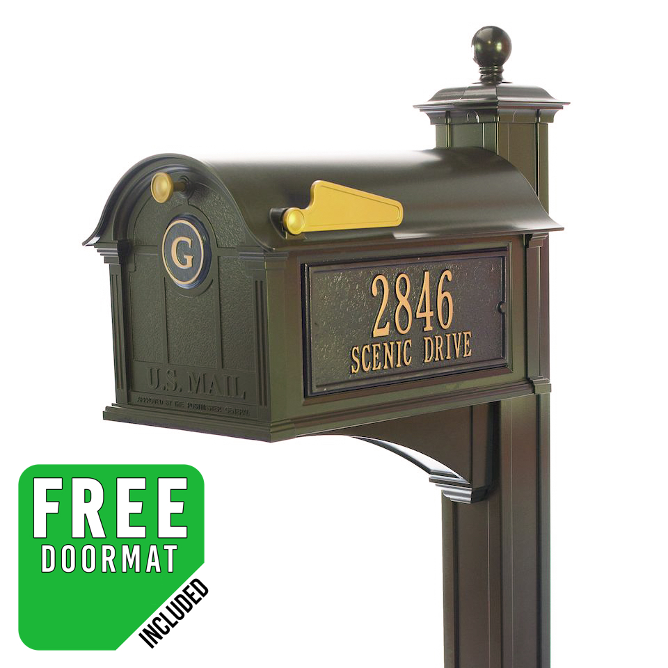 Whitehall Balmoral Monogram Mailbox and Post Package in Bronze  sc 1 st  Budget Mailboxes & Whitehall Products | Balmoral Streetside Monogram Mailbox-Post ...