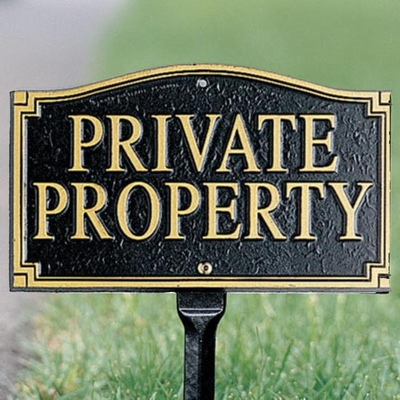 "Whitehall Private Property Statement Plaque - Wall/Lawn - Black/Gold (18"" Lawn Stake Included)"