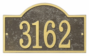 Whitehall Products Fast & Easy Arch House Numbers Plaque - Bronze / Gold Lettering