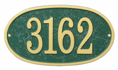 Whitehall Products Fast & Easy Oval House Numbers Plaque - Green / Gold Lettering