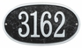 Whitehall Products Fast & Easy Oval House Numbers Plaque - Black / Silver Lettering