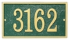 Whitehall Products Fast & Easy Rectangle House Numbers Plaque - Green / Gold Lettering